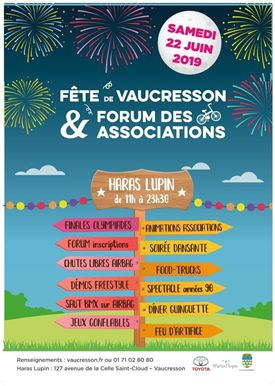Fête de la Ville + forum associations + feu d'artifice le 22 juin au Haras Lupin